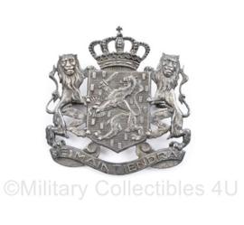 Nederlandse Pet embleem Je Maintiendrai zilverkleurig voor ambtenaren - luxe pin achterop - 4,5 x 4 cm - origineel