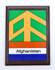 Wandbord Defensie Afghanistan missie - 20,5x15x1,5cm - origineel