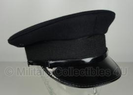 Politie platte pet - zonder insigne  - Donkerblauw / bijna zwart - maat 55 of 56 - origineel