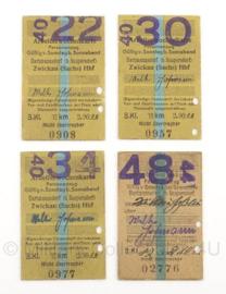 WO2 Duitse treinkaartjes Arbeiterwochenkarte - 4 stuks - origineel
