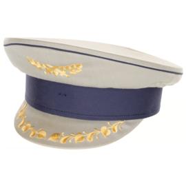 Militaire platte pet grijs met blauw en klepversiering - hoge officier - meerdere maten - origineel