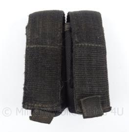 KL Landmacht bewaking zwarte dubbele magazijn tas - afmeting 11 x 7 x 4 cm - origineel