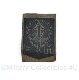 Defensie GVT eenheid mouw embleem zwart - zeldzaam omgekeerde kleuren -  1e Divisie 7 december - 8 x 5 cm