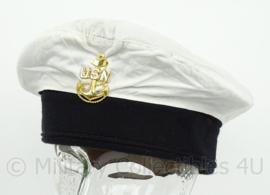US Navy USN Navy muts - met goudkleurige metalen insigne - maat 57 - origineel