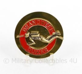 Brandweer duiker brevet  insigne goudkleurig - diameter 5 cm  - origineel