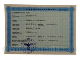 Stalag tewerkstelling - Nederlandse krijgsgevangene - Johannes Bernardus Hollander Amsterdam
