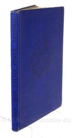 """Boek """"our police force"""" - handgeschreven tekst begin bladzijde Korps Mariniers 1945 -  origineel 1943"""