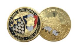 Normandië Le Mont-Saint-Michel commemorative coin herinneringsmunt - diameter 4 cm - origineel