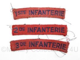MVO straatnaam set  1ste 2de en 3de Infanterie = 1 set   - 9,5 x 2 cm origineel