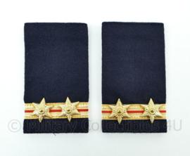 Nederlandse Brandweer donkerblauw wollig epauletten - hoge rang adjunct hoofdbrandmeester 1e klasse - paar - 5,5 x 10 cm - origineel