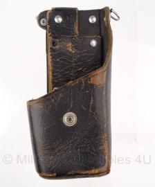 Nederlandse Politie koppel leren portofoon tas - 4 x 8 x 17 cm - origineel