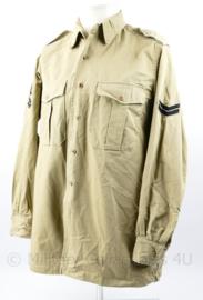 Korps Mariniers Tropen shirt khaki met lange mouw - rang Korporaal - maat 40 - origineel