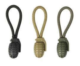Zipper ring Ring puller zakje a (voor aan een rits) - handgranaat - GROEN, COYOTE of ZWART