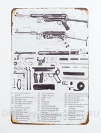 Nieuw gemaakte plaat met Wo2 Duitse MP40 Schmeisser - 30 x 20 cm - nieuw