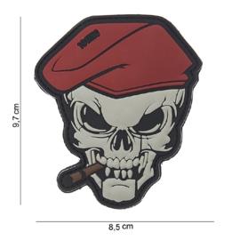 Embleem 3D PVC - met klitteband - Skull met rode baret en sigaar - 9,7 x 8,5  cm