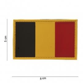 Uniform landsvlag België 3d PVC met klittenband - 8 x 5  cm.
