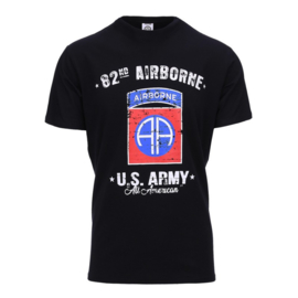T-shirt 82nd Airborne Division deluxe  - BLACK - maat Small t/m XXL
