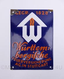 Duits emaille wandbord jaren 40 en 50 Wurtembergische Feuerversicherung AG in Stuttgart gegrundet 1828 - 20 x 14 cm - origineel