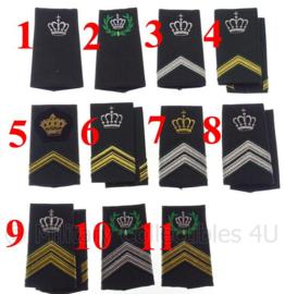 KL Nederlandse leger DT2000 schouderstukken met kroon (en krans) - verschillende rangen - origineel