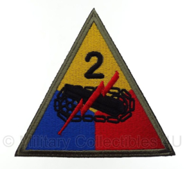 WO2 US Army 2nd Armored Division embleem - 10,2 x 9,8 cm