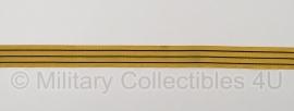 Marine mouwband  42mm breed - 2 meter lang - goud met 3 zwarte lijnen