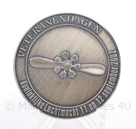 KLU Luchtmacht coin Veteranen dagen  11 en 12 september 2002 - diameter  4 cm - origineel