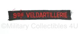 MVO straatnaam  enkel 9de Veldartillerie - 12 x 2 cm - origineel