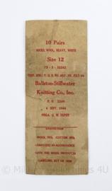 Wo2 US Army 1944 kartonnen label van sokken - 25,5 x 10 cm - origineel