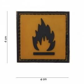 Embleem Flammable - Klitteband - 3D PVC  - met klittenband - 4 x 4 cm.