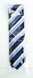 Blauw wit gestreepte stropdas - NIEUW
