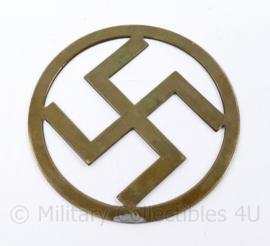 Wo2 Duitse metalen messing Swastika  - diameter 11,5 cm - Origineel