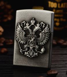 Russische leger metalen aansteker met adelaar - zilver - 5,5 x 3,5 x 1,2 cm
