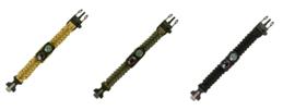 Paracord Survival armband combi 9 inch - met thermometer en kompas - groen, coyote of zwart