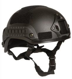 MICH 2001 helm met rail - zwart