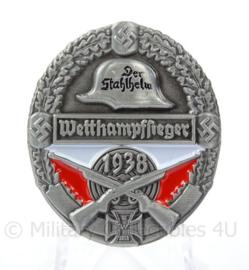 WO2 Duitse medaille der Stahlhelm Wettkampfsieger 1938 - afmeting 3,5 x 4 cm - replica