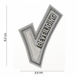 """Security Beveiliging """"V"""" insigne stof - 8,2 x 5,5 cm - reflecterend"""