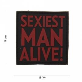 Embleem 3D PVC - met klittenband - Sexiest Man Alive - 5 x 8 cm