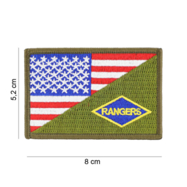 Embleem stof US RANGERS small with American flag and GREEN - 8 x 5,2 cm.