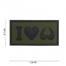Embleem 3D PVC - met klittenband - I Love Boobies - groen - 7,9 x 4,1  cm