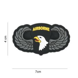 Embleem 3D PVC - met klittenband - 101st Airborne Division Parawing  - 7 x 4 cm.