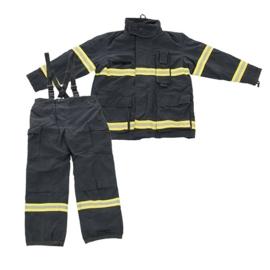 Brandweer jas en broek - Donkerblauw met gele reflectoren  - origineel