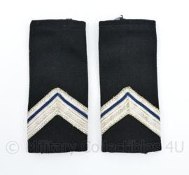 Kmar Marechaussee vorig model epauletten zwart wollig - Wachtmeester 1e klasse - 11 x 4,5 cm - origineel