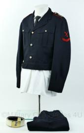Korps Mariniers Barathea set met Witte koppel - kort model - Maat Jas 45, broek 46K- Origineel