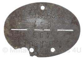 WO2 Duitse erkennungsmarke - 5e Kompanie van artillerie regiment 50, serienr. 498 - origineel