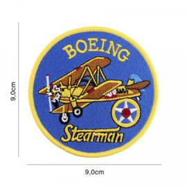 Embleem stof - Boeing Stearman - diameter 9 cm