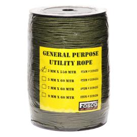 Groen TOUW op rol. 3mm  diameter en 550 meter lang!