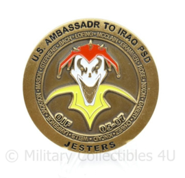 Zeldzame coin US Ambassadr to Iraq PSD HHB FWD 1/127 FA SECFOR 2nd PLT 4th SQD - diameter 5 cm - origineel