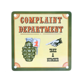 Metalen plaatje Koelkastmagneet Complaint Department - Take a Number - 11,5 x 11,5 cm