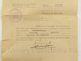 WO2 Duits Bescheinigung document - 1943 - origineel - Jan Vercauteren Antwerpen