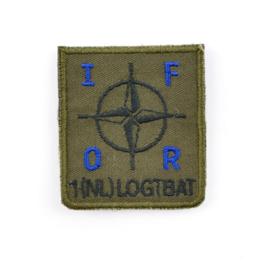 KL Nederlandse leger IFOR 1 NL LOGTBAT 1 Nederlandse Logistiek Transportbataljon borstembleem - met klittenband - 5 x 5 cm - origineel
